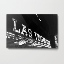 Vintage Las Vegas Sign - Black and White Photography Metal Print