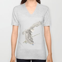 The snowy owl in flight with his wing touching the snow Unisex V-Neck