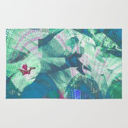 Tiny Dragon in Abstract Mountain Landscape Rug