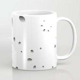 Gray drops and petals on a black background in nacre. Coffee Mug