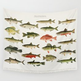 Illustrated North America Game Fish Identification Chart Wall Tapestry