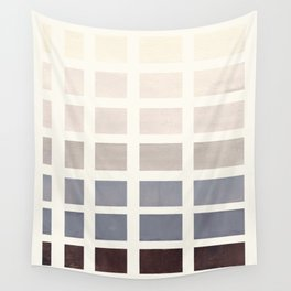Grey Taupe Watercolor Gouache Geometric Square Matrix Pattern Wall Tapestry