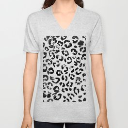 Modern black white marble stylish leopard pattern Unisex V-Neck