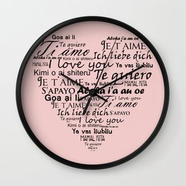 Heart I love you in other languages Wall Clock