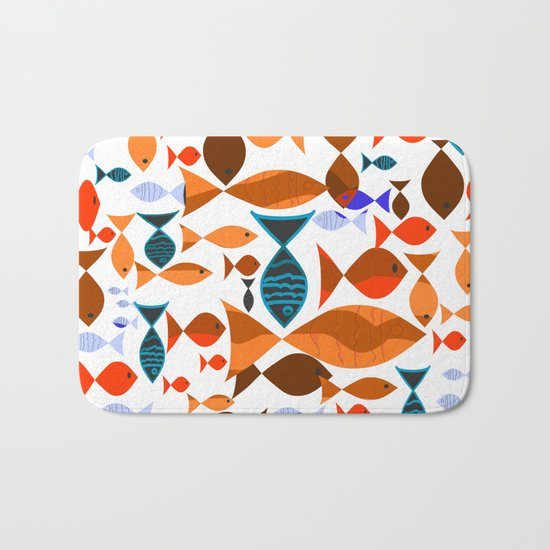 Red Fishes Bath Mat
