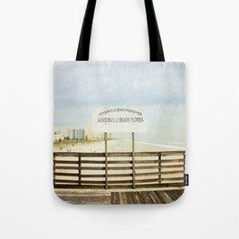 Jacksonville Beach Pier Sign Tote Bag