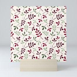 Assorted Leaf Silhouettes Ptn Reds Greens Cream Mini Art Print