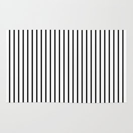 Black Pinstripe On White Pattern Rug