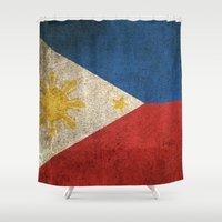 philippines Shower Curtains featuring Old and Worn Distressed Vintage Flag of Philippines by Jeff Bartels