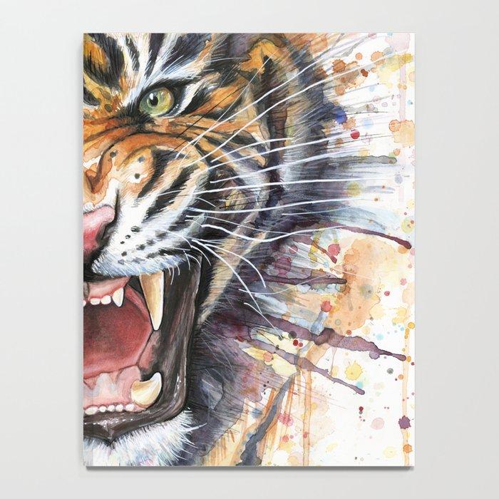Tiger Watercolor Wild Animal Jungle Animals Notebook