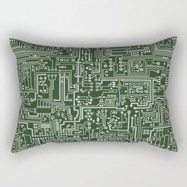 Circuit Board // Green & Silver Rectangular Pillow
