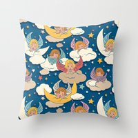 angels Throw Pillows featuring Angels by Helene Michau