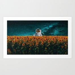 Astronaut in sunflower field Art Print