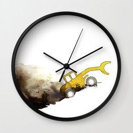 yellow grab crane crawls out Wall Clock