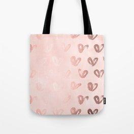 Rosegold Hearts on Pink Tote Bag