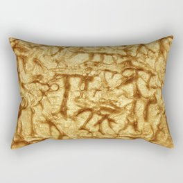 Gold Waves and Ripples Textured Wavelet Paint Art Rectangular Pillow