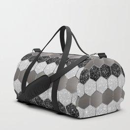 Silver Hexagon Glitter Glam #1 #geometric #decor #art #society6 Duffle Bag