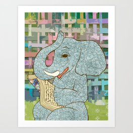 Elephant Reading Art Print