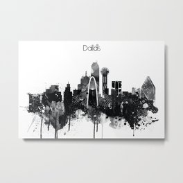 Dallas TexasBlack White Skyline Poster Metal Print