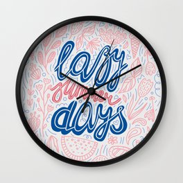 Pastel Lazy Summer Days Poster Wall Clock