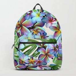 Rainbow Plumeria Pattern Backpack