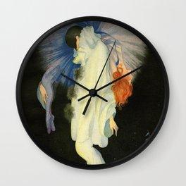 O Colombina - Harlequin and red-headed Girl, Twilight portrait by Rita Senger Wall Clock