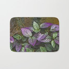 Purple and Green Leaves on Multi-Colored Bark Bath Mat
