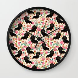 Doxie Florals - vintage doxie and florals gift gifts for dog lovers, dachshund decor, black and tan Wall Clock