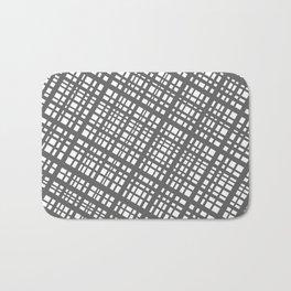 Bauhaus Grid, diagonal Gray & White pattern Bath Mat