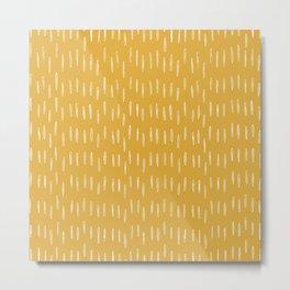 Raindrop Abstract Boho Pattern, Yellow Metal Print