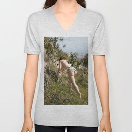 woman in the nature Unisex V-Neck