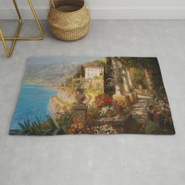 Amalfi Coast Campania, Italy Garden Terrace Vineyard and Flowers landscape seaside painting Rug