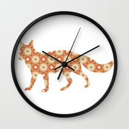 FOX SILHOUETTE WITH PATTERN Wall Clock