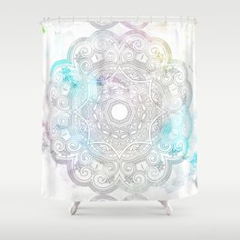 abstract gray and turquoise mandala design in minimal style Shower Curtain