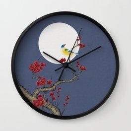 Plum blossoms, bird and the moon Type H (Minhwa: Korean traditional/folk art) Wall Clock