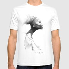 Afro MEDIUM White Mens Fitted Tee