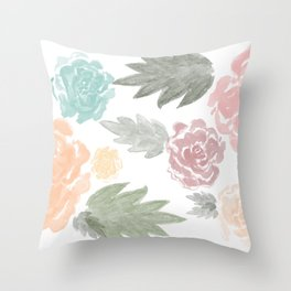 watercolour flowers Throw Pillow