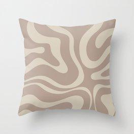Liquid Swirl Retro Abstract Pattern in Creamy Cocoa Throw Pillow