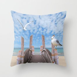 Dock on Beach with Seagulls A340 Throw Pillow