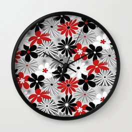 Funky Flowers in Red, Gray, Black and White Wall Clock