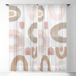 Terracotta Shapes Sheer Curtain