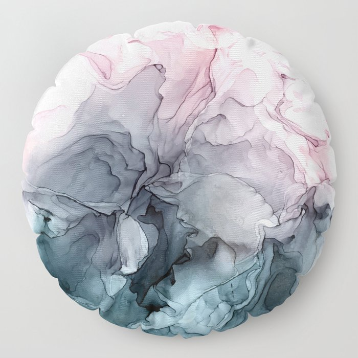 Blush and Payne's Grey Flowing Abstract Painting Floor Pillow