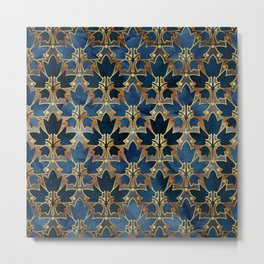 Abstract Leaves Pattern (copper& prussian blue) Metal Print