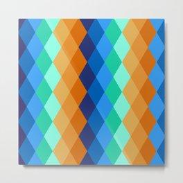 Kingfisher Abstract Diamonds Pattern Metal Print