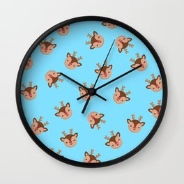 Blue Rudolf Reindeer Wall Clock
