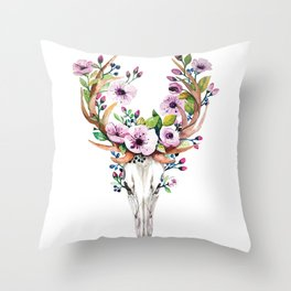 Boho watercolour skull with purple flowers crown Throw Pillow