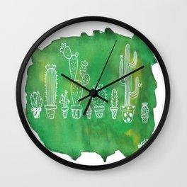 Cacti Line Up Wall Clock