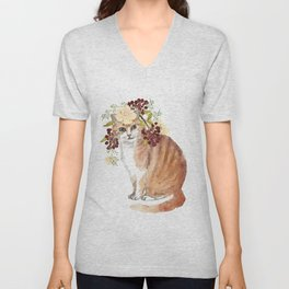 cat with flower crown Unisex V-Neck