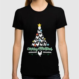 Merry Christmas Chicken Tree Holiday Hen Ornament print T-shirt
