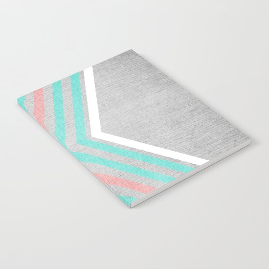 Teal, Pink and White Chevron on Silver Grey Wood Notebook